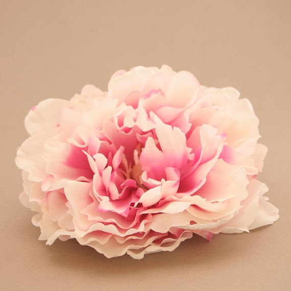 Cream Pink Ruffle Peony Artificial Flowers Silk Flower Etsy