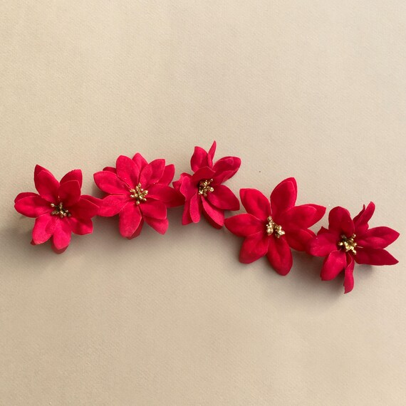 5 mini christmas poinsettia flower heads silk flowers etsy image 0 mightylinksfo