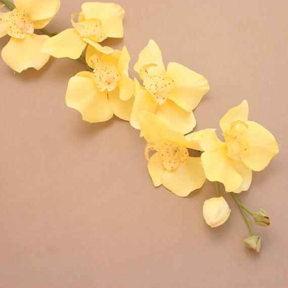 Branche d'orchidée Phalaenopsis - fleurs en soie - fleurs artificielles jaunes