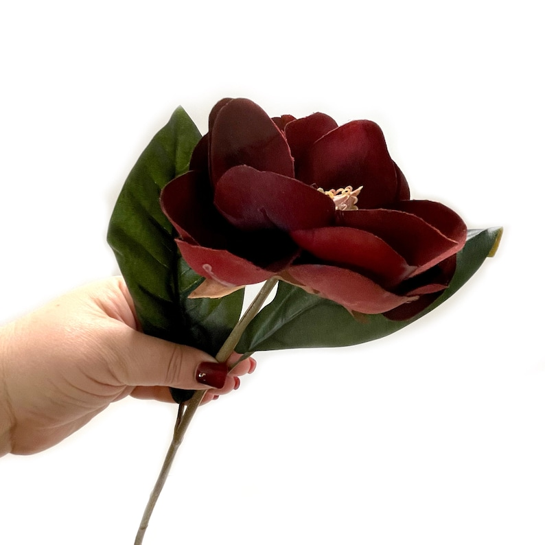 Silk Flower Head Artificial Flower Burgundy Red Magnolia