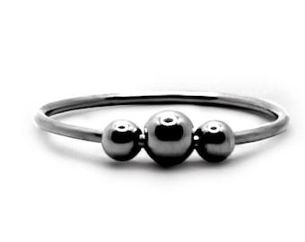 White gold Fidget ring, solid 10k gold, minimalist spinner ring, meditation, dainty fidget ring, anti stress white gold anxiety ring #AR600