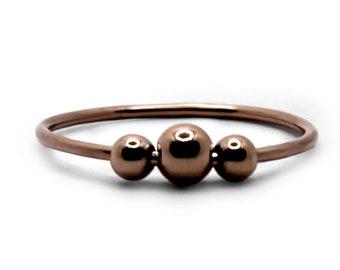 Rose gold Fidget ring, solid 10k gold shank with GF beads, minimalist spinner ring, meditation, dainty fidget ring, anti stress ring #AR700