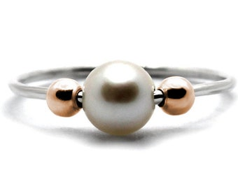 Pearl anxiety ring in silver and rose gold filled beads, pearl meditation ring, dainty fidget ring, anti stress pearl ring with gold #AR301