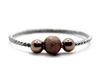 Fidget anxiety ring with rose gold filled beads, minimalist spinner ring, twister cable , dainty fidget ring, anti stress ring silver #AR303
