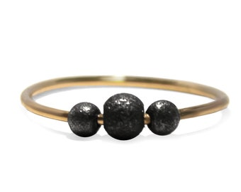 Gold Fidget ring, solid 10k gold shank with black silver beads, oxidized silver beads, anxiety dainty fidget ring, anti stress ring #AR215