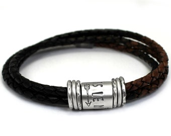 Personalized dad bracelet, leather and silver bracelet, quality men bracelet customized with names or dates, leather bracelet for men #BC152