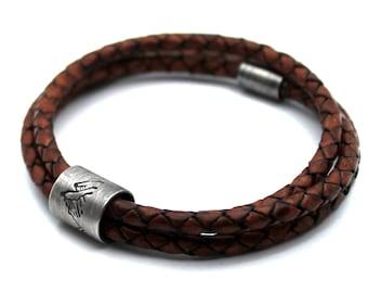 Dad bracelet with kids name, large silver beads leather bracelet, customized name bracelet for men or father, beads names bracelet #BC159
