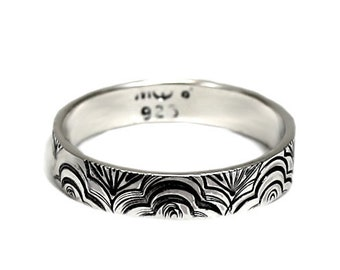 Waves texture ring, 4mm, texture outside, one texture or text is included, solid sterling silver, waves texture ring, stackable ring. #J256