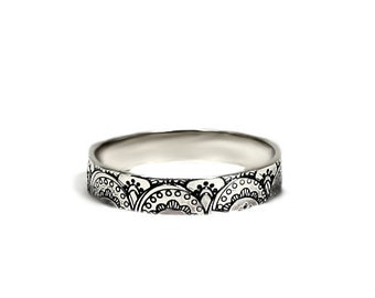 Laces texture ring, 4mm, texture outside, one texture or text is included, solid sterling silver, laces texture ring, stackable ring. #J257