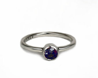 Lab-grown sapphire stacking ring, with lab-grown sapphire, 2mm round silver ring, gift idea, stackable ring, stacking rings silver. #BE144