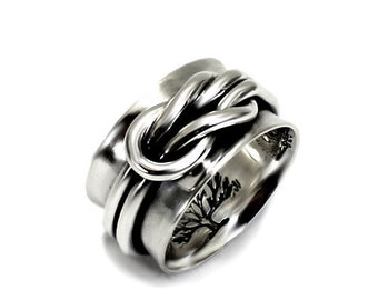 11mm silver band with a double reef knot ring, text inside available, solid sterling silver oxidized, large silver band, ring. #J160