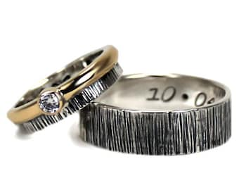His and Hers: two textured bands, one with a CZ and a 10Kt gold ring, 1 engraving included on each ring, wedding bands, promise rings #EJ130