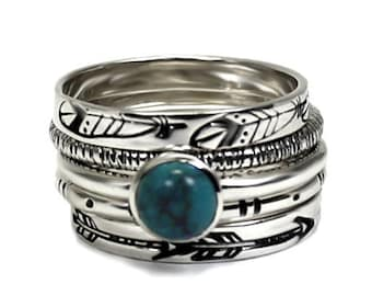SET OF 5 stackings rings in sterling silver, silver turquoise ring, with texture, gift idea, stackable ring, stacking rings silver. #BE140