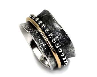13mm gold and silver band with texture, namaste ring,text available,solid sterling silver oxidized,silver and gold ring,2 middle rings #N104