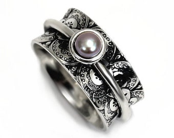 10mm silver band with pearl, Lace texture ring, text inside available, Different color of pearl, solid sterling silver oxidized, gift #N110