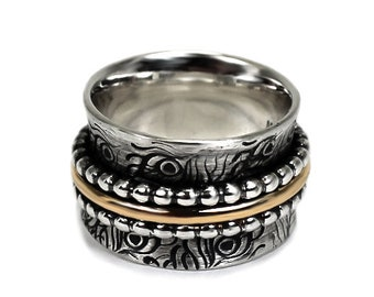 12.5 mm silver and gold band with feather texture, meditation ring, 3 spinners ring, solid sterling silver oxidized and 10kt gold ring #N102