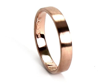 Ring band 3mm 10k ROSE solid gold, small coordinates ring pink gold, personalized with engraving, gps ring longitude latitude. #J202