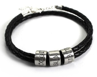 Name bracelet for men, leather and silver bracelet, customised bracelet, adjustable bracelet with clasp and chain, gift for men #BC141