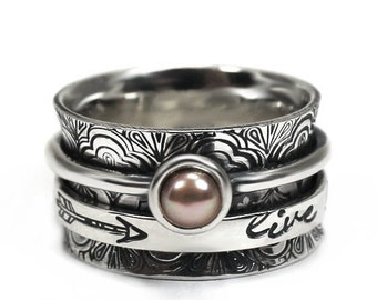 Bohemian ring with rose pearl, single pearl meditation ring in sterling silver, large statement ring with personalized engraving #N111