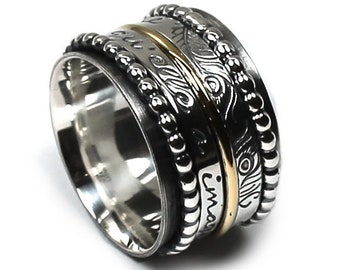 Spinner ring 14 mm; 1.5mm 10k gold band, 2 silver spinners, 2x 3mm spinner band, 3 engravings included, silver and gold #J207