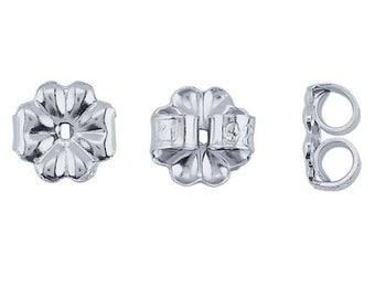 Silver ear nuts, medium weight friction ear-nuts in sterling silver, high quality ear nuts made of solid sterling silver