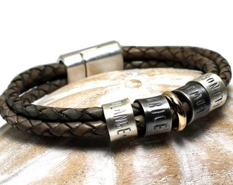 Silver and gold name leather bracelet, up to 6 customised silver rings, personalized bracelet, leather bracelet, bracelet for men . #BC139
