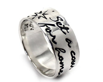 Ring band 8mm 2 engravings included, coordinate ring, ringband with longitude and latitude, sterling silver, personalized jewelry. #J151