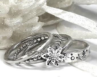 Snowflake ring set, set of 4 stackings rings, snowflake ring, winter ring, stackable ring, stacking rings, winter jewelry. #BE135