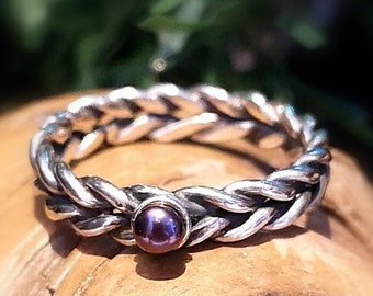 Two braided band with a purple pearl, twisted wire ring, silver ring . READY TO GO