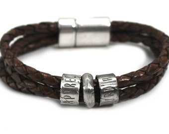Distressed name leather bracelet, up to 6 customised silver rings, personalized bracelet, leather bracelet, bracelet for men . #BC138