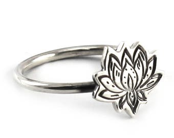 Lotus flower ring, silver staking ring, lotus ring, flower silver ring, stacking ring sterling silver, lotus stacking ring, lotus. #B138
