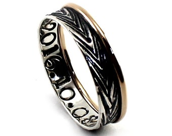 Ring band 4.5mm ; 1.5mm of 10k gold and 3mm silver band, 2 engravings included, can be customized, solid gold and sterling. #J150