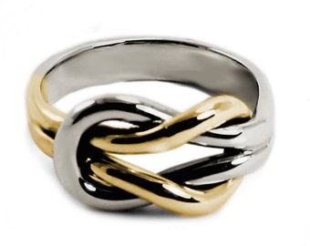 Chunky silver and 10k gold double reef knot ring, engraving space, double knot ring in solid gold, wedding ring,  thick knot ring. #B116
