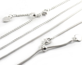 AJUSTABLE Snake OR wheat chain in solid sterling silver, silver 925 ajustable chain,  high quality chain, 1.3mm snake or 1mm to 1.5mm. #C108
