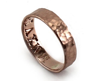 Rose gold 4mm ring band with hammered texture, solid 10k pink gold, personalized with engraving, ring with dates, roman numerals. #J305