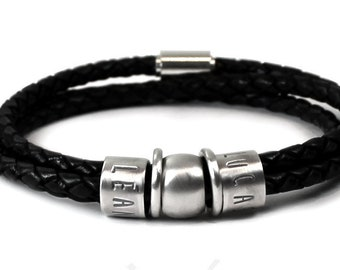 Dad bracelet with kids name, customized family bracelet, sterling silver and leather cord, bracelet for men personalized silver beads #BC149