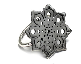 Silver ring with mandala pattern, lace ring, mandala ring, 2mm thick base  solstice collection #S140