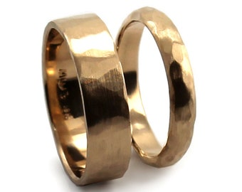 His and Hers rings set 10K solid yellow gold, for her half round 2mm x 4mm, for him flat bland 1.2mm x 6mm. #EJ105