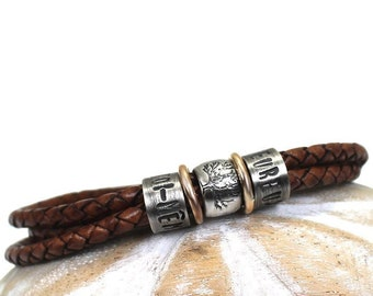 Family bracelet for men, silver and gold beads, leather bracelet with names, dates or words on silver beads, dad family bracelet #BC349