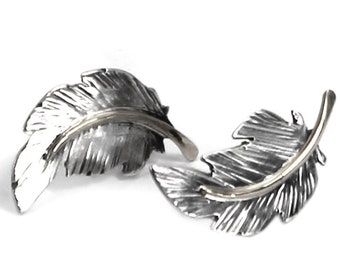 Unique Feather earrings 20mm, handmade feather earrings, solid sterling silver, each feather is unique, #BO122