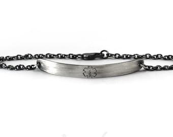 Medical bracelet, medic alert silver bracelet, medic alert bracelet, ID bracelet, personalized bracelet with Sterling silver chain. #BA101