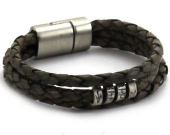 Personnalised leather bracelet, gray leather bracelet, customised bracelet in leather, different color, unisex, . #BC134