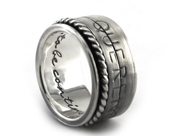 CRYPT CODE Spinner ring 13 mm; 2 flat spinners with personalized text, turn the spinners to read the text, secret message ring. #JC104