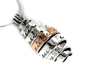 Necklace silver & gold with personalized text, custom text necklace with small 10k gold plate, gift, kids names, silver and gold. #PT110