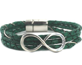 Infinity leather bracelet, leather cord bracelet with a silver infinity, you can engraved a word, handmade bracelet, magnetic clasp. #BC115