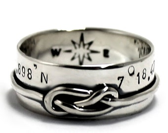 8 Knot ring band, large ring with knot rope, sailor 8 knot ring, personalized knot ring, coordinate ring, gift ideas, wedding ring. #J132