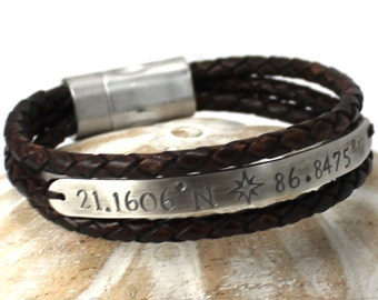 Brown leather bracelet with personalized plate, 8mm wide silver plate, gps location bracelet customized with engraving, gift for him. #BC123