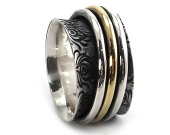 13 mm silver and gold band with feather texture, meditation ring, spinner ring, solid sterling silver oxidized,  ring. #J209