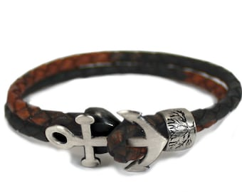 Anchor bracelet for men, leather and silver bead bracelet, customised bracelet, clasp made with the anchor and leather wrap, unisex.#BC166
