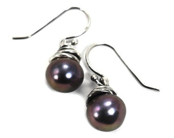 Rose pearl drop earrings, MINI modele, silver swirl around pearl, handmade earrings, each one is unique and different, gift for her. #BO235